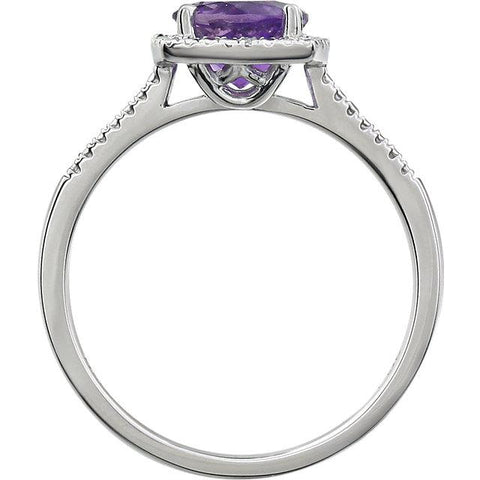 amethyst and diamond ring | silver amethyst and diamond ring | sterling silver amethyst ring