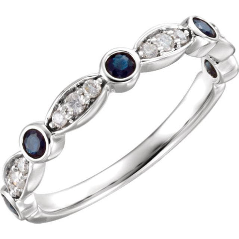14K White Gold Sapphire & 1/6 CTW Diamond Ring - Moijey Fine Jewelry and Diamonds