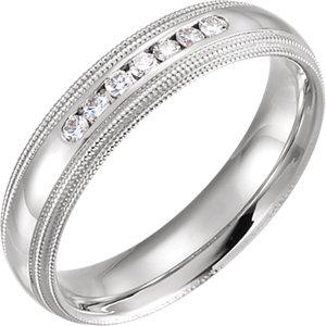 1/6 CTW Diamond 5mm Half Round Comfort-Fit Double Milgrain Band