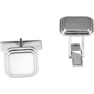 Sterling Silver Engravable Square Cuff Links - Moijey Fine Jewelry and Diamonds