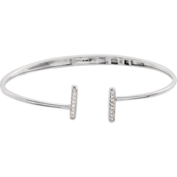1/6 CTW Diamond Bar Hinged Cuff Bracelet - Moijey Fine Jewelry and Diamonds