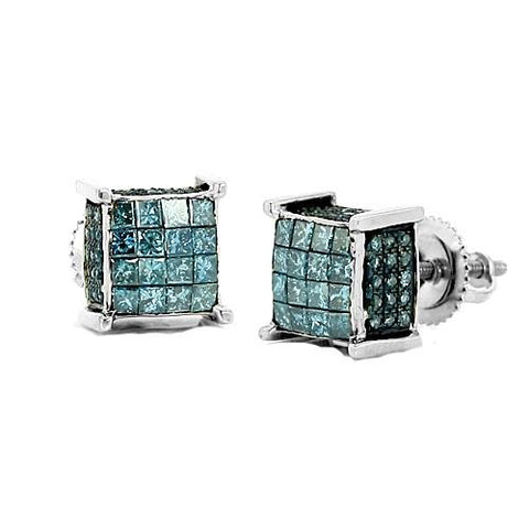 10k White Gold 1.10ctw Blue Diamond Dice Earrings - Moijey Fine Jewelry and Diamonds