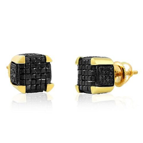 10k Yellow Gold 1.25ctw Black Diamond Dice Princess Cut Earrings - Moijey Fine Jewelry and Diamonds