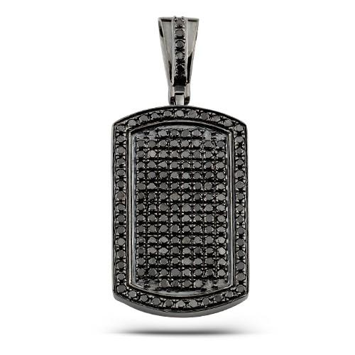 14KB 2.10ctw Black Diamond Dogtag Pendant