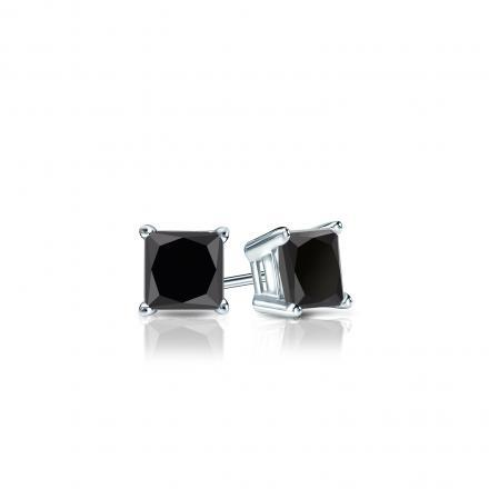 Princess Cut Black Diamond Stud Earrings