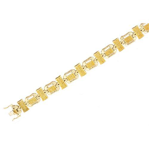 10k Yellow Gold 1.45ctw Yellow Diamond Micro Pave Mens Bracelet