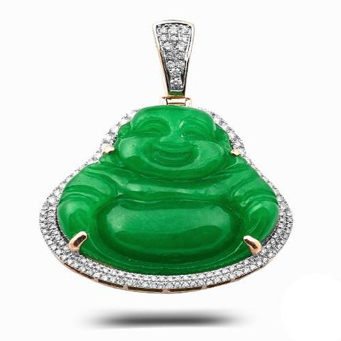 14KY 1.00ctw Diamond Pendant with 54.40CT Jade Buddha - Moijey Fine Jewelry and Diamonds