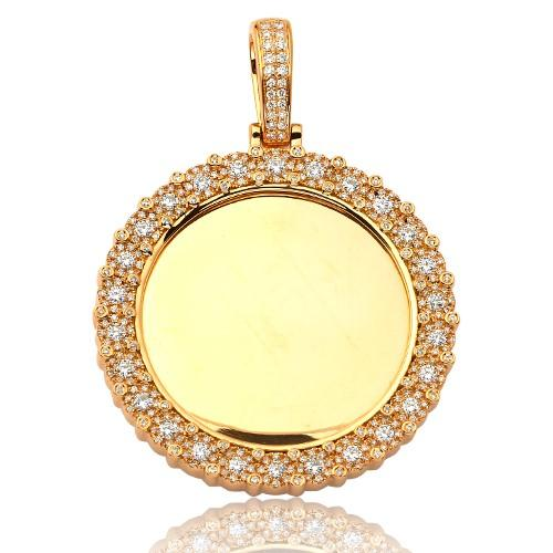 14KY 1.50ctw Mirror Place Disc Pendant with Fleur Cluster Border - Moijey Fine Jewelry and Diamonds