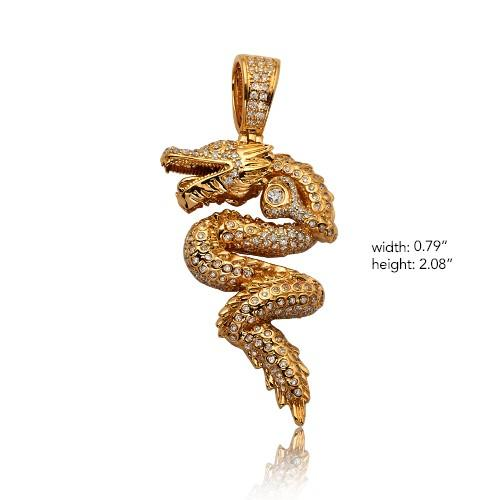 14KY 1.60ctw Diamond Chinese Dragon Pendant