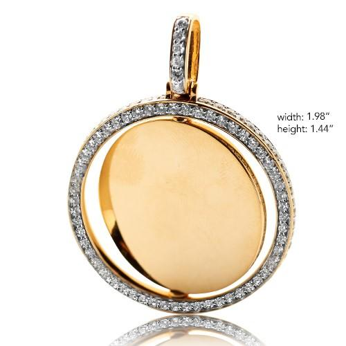 14KY 3.50ctw Diamond Rotating 2-Sided Memory Pendant