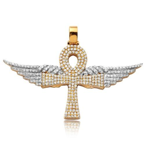 14K Yellow Gold and White Gold 1.65ctw Winged Diamond Ankh Cross Pendant