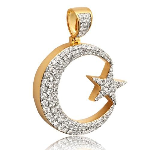 10KY 2.85ctw Diamond Crescent Moon with Star Pendant