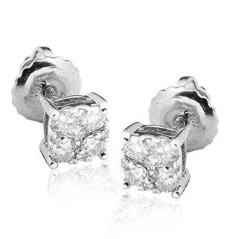 14KW 0.33ctw Diamond Square Cluster Earring Studs - Moijey Fine Jewelry and Diamonds