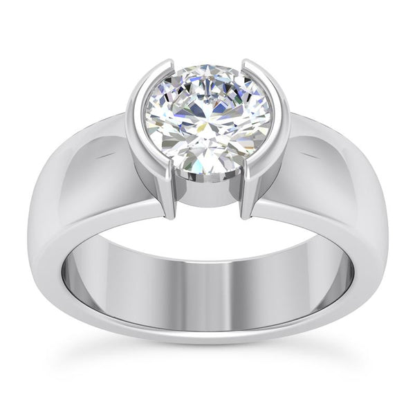 Modern Half Bezel Solitaire Engagement Ring Setting - Moijey Fine Jewelry and Diamonds