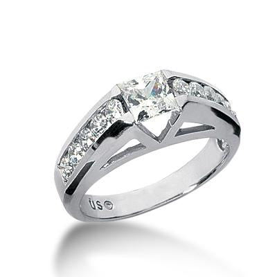 Brilliant Cathedral Princess-Cut Engagement Ring Setting