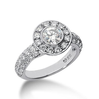 Pave and Bezel-Set Halo Engagement Ring - Moijey Fine Jewelry and Diamonds