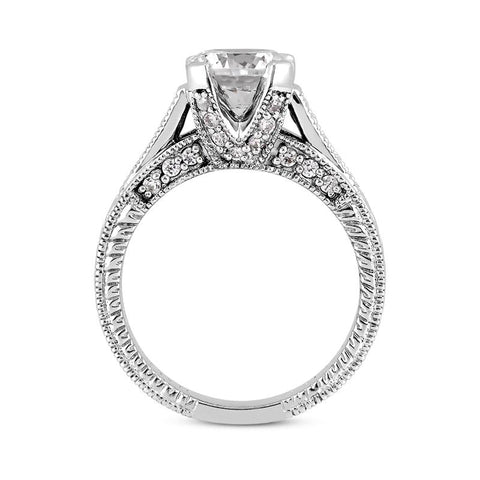 14K White Gold Accented Engagement Ring