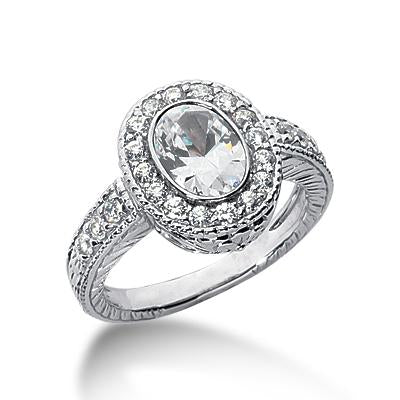 Vintage Bezel Halo Engagement Ring Setting - Moijey Fine Jewelry and Diamonds