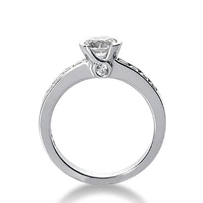 Half-Carat Round Half-Bezel Engagement Ring Setting - Moijey Fine Jewelry and Diamonds