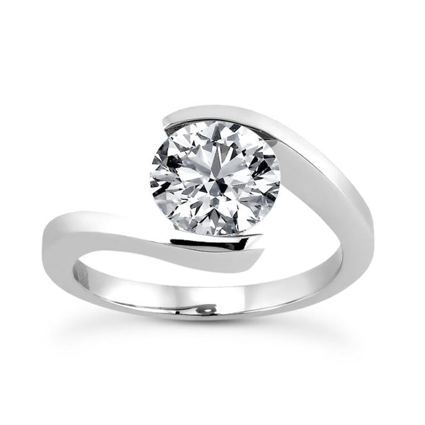 solitaire tension ring | bypass solitaire engagement ring | solitaire engagement ring setting