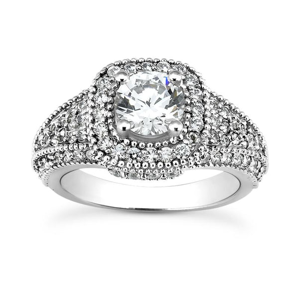 Vintage Pave Halo Engagement Ring Setting - Moijey Fine Jewelry and Diamonds