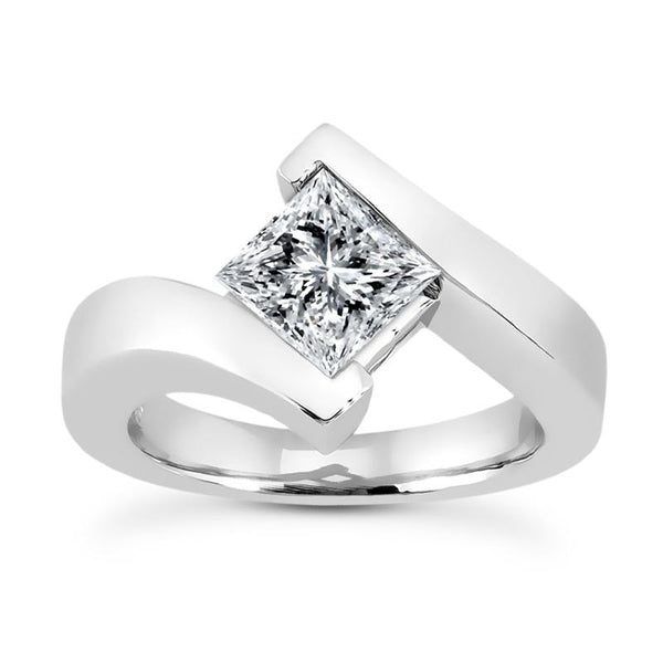 Princess Solitaire Bypass Engagement Ring Setting