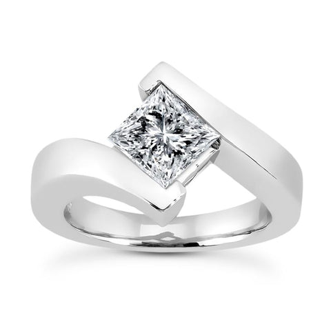 Princess Solitaire Bypass Engagement Ring Setting - Moijey Fine Jewelry and Diamonds