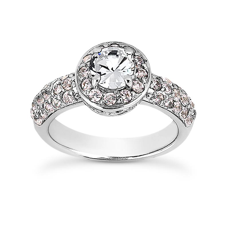 Sweet Pave Halo Engagement Ring
