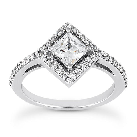 East-West Princess Halo Engagement Ring Setting (5.5mm) - Moijey Fine Jewelry and Diamonds
