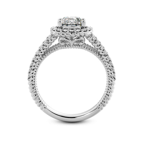 Diamond Encrusted Rope Halo Engagement Ring Setting (6.5mm) - Moijey Fine Jewelry and Diamonds