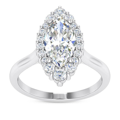 Elegant Marquise Halo Engagement Setting (10x5mm) - Moijey Fine Jewelry and Diamonds