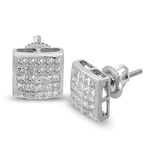14K 1.10ctw Diamond Invisible Princess Cut Earrings - Moijey Fine Jewelry and Diamonds