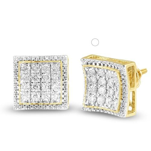 10KY 1.05ctw Diamond Square Shape Concave 3-D Earrings