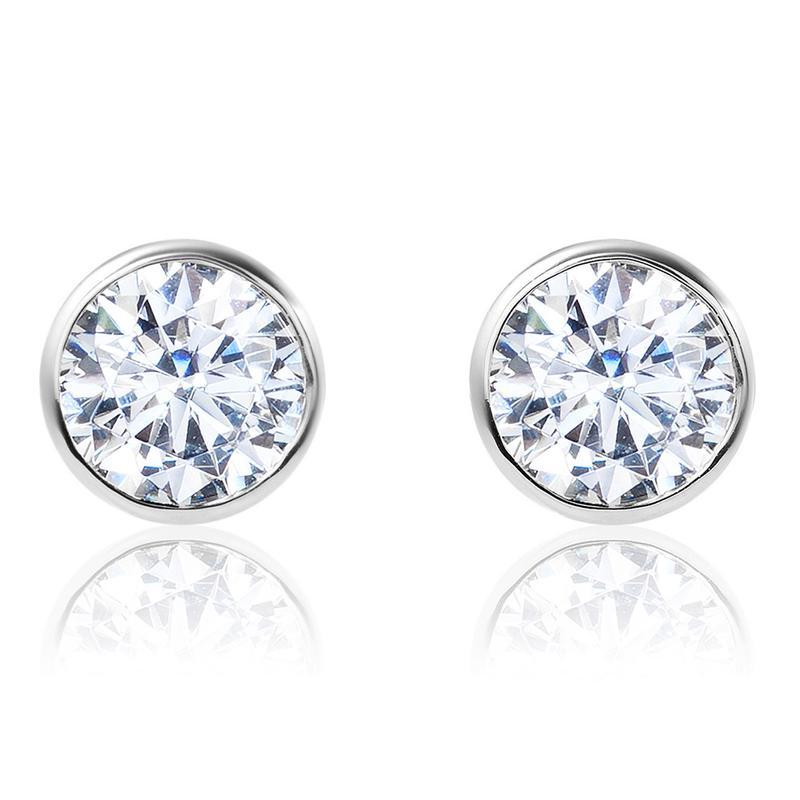 One Carat Bezel Set Diamond Stud Earrings