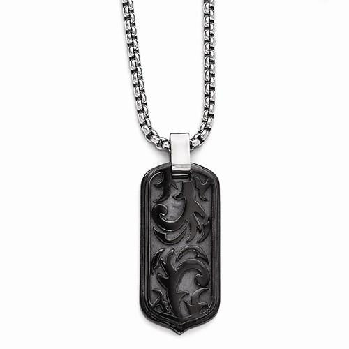 "20"" Black Titanium Casted Dog Tag Pendant Necklace - Moijey Fine Jewelry and Diamonds"