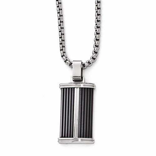"20"" High Polish & Black Titanium Necklace - Moijey Fine Jewelry and Diamonds"