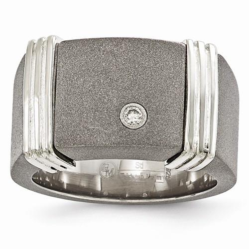 Edward Mirell Titanium & Argentium Sterling Silver .06CTW Diamond Ring - Moijey Fine Jewelry and Diamonds
