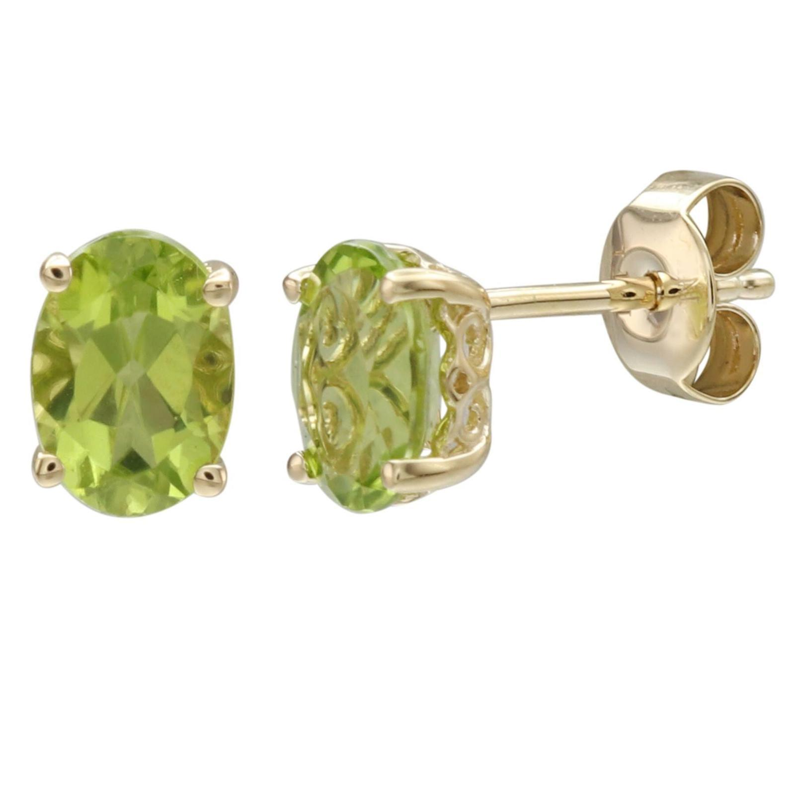 14K Yellow Gold Peridot Earring