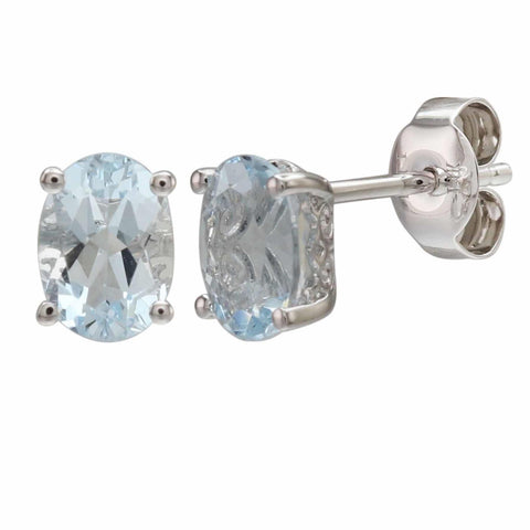 Oval-Shaped Aquamarine Stud Earrings