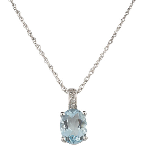 Oval-Shaped Aquamarine and Diamond Necklace
