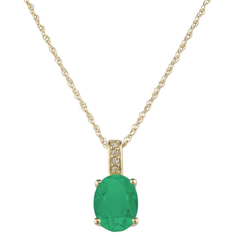 Oval-Shaped Emerald and Diamond Necklace