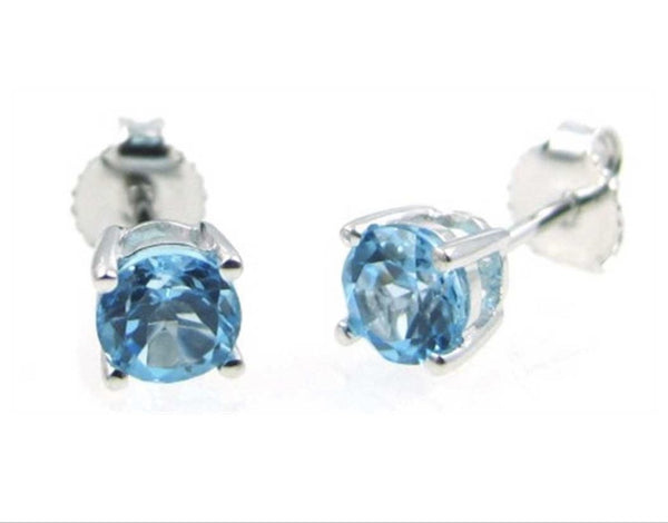 14K White Gold Swiss Blue Topaz Earring