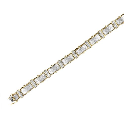 10k Yellow Gold 2.15ctw Diamond Mico Pave Mens Bracelet