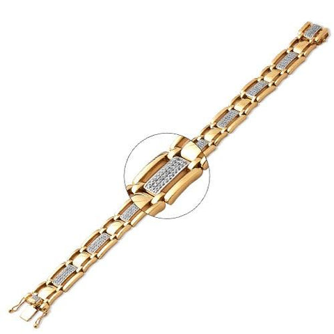 "10KY 1.15ctw Diamond Men's Bracelet 7.5"" - Moijey Fine Jewelry and Diamonds"