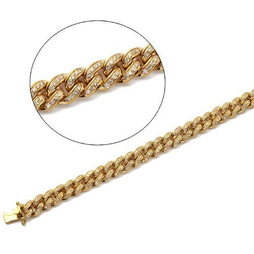 "10KY 3.50ctw Diamond Miami Cuban Bracelet - 8.5"" - 9mm"