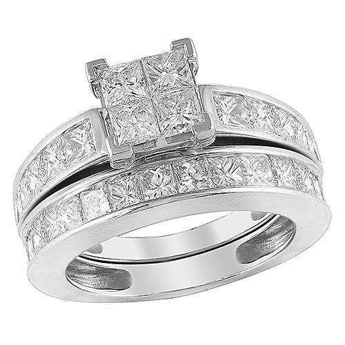 14K White Gold 3.00ctw Diamond Bridal Set