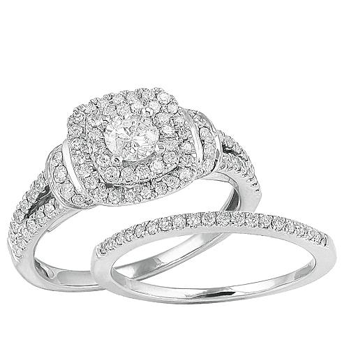 14K White Gold 1.00ctw Round Cut Diamond Bridal Set