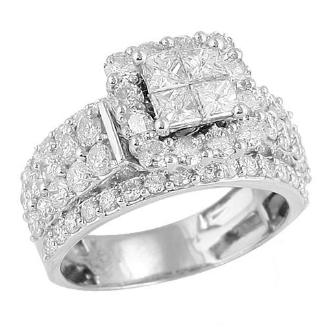 14K White Gold 3.05ctw Princess Cut Diamond Quad-Head Ring - Moijey Fine Jewelry and Diamonds