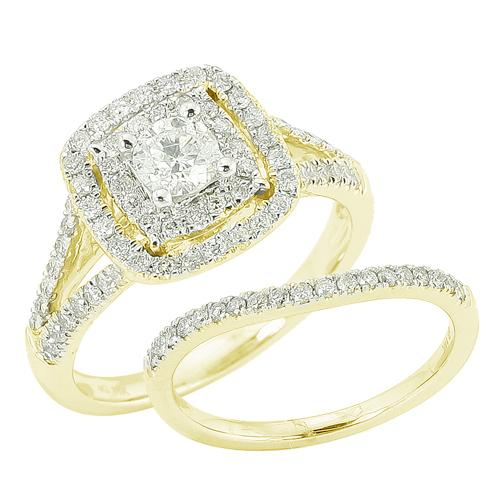 14K Yellow Gold 1.10ctw Round Cut Diamond Bridal Set