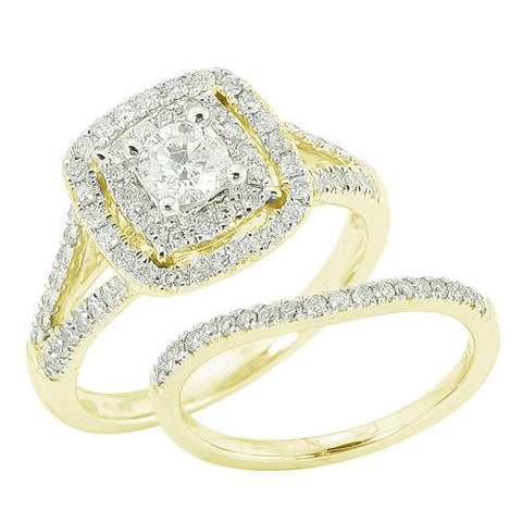 14K Yellow Gold 1.10ctw Round Cut Diamond Bridal Set - Moijey Fine Jewelry and Diamonds